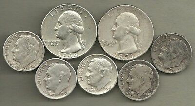 Washington Quarters/Roosevelt Dimes- 90% Silver US Coin Lot- 7 Circulated Coins