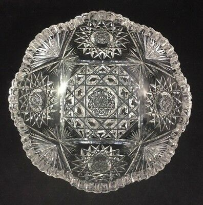 "J. Hoare & Co ABP Cut Glass No. 5134-1641 LILLY 8"" Bowl c. 1911"