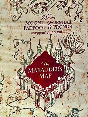 image about Harry Potter Marauders Map Printable identified as HARRY POTTER MOONY Marauders Map Print By way of the back garden x43 inside of Cotton print cloth