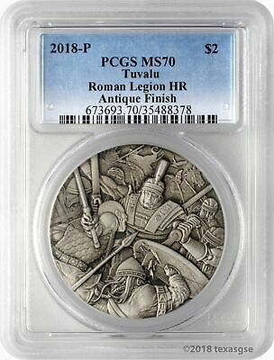 2018-P $2 Tuvalu Warfare Roman Legion 2oz .9999 Silver HR Antiqued PCGS MS70