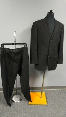 HUGO BOSS Black Wool Lined Three Button Two Piece Men's Suit Size 40R GG4341