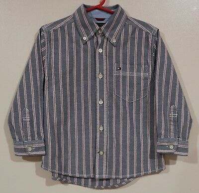 EUC Tommy Hilfiger Boys Blue with Red Stripes Dress Shirt Size 2T