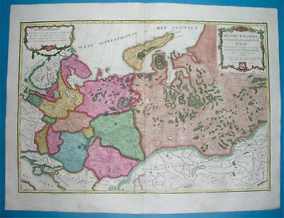 1771 RARE NICE ORIGINAL MAP with arms RUSSIA ESTONIA LATVIA MOSCOW PETERSBURG