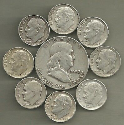 Franklin Half Dollar & Roosevelt Dimes- 90% Silver- US Coin Lot - 9 Coins #3880