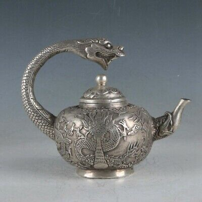 Chinese Exquisite Silvering Copper Dragon Teapots Made During The Da Ming Xuande