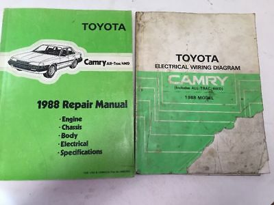 1988 toyota camry all-trac 4wd oem repair manual & electrical wiring diagram  set