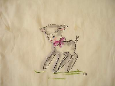 VINTAGE Hand Painted Custom Hand Made Baby Bib with Lamb