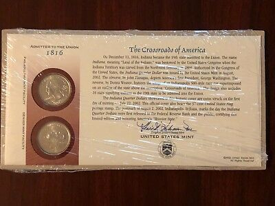 2002-P&d Mint Indiana First Day Cover State Quarters ~ Opened/wraped ~ Q28