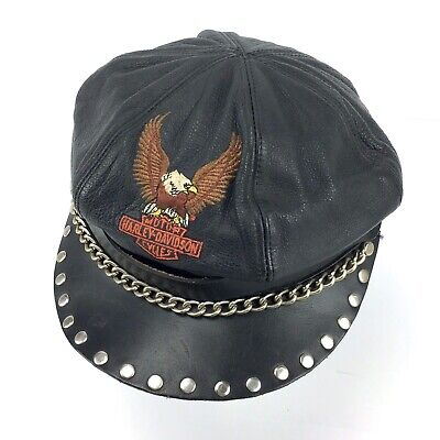 33268b493 VTG HARLEY DAVIDSON Leather Captains Hat Cap Black Studded Chain 60s ...