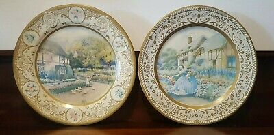 2 Willow Tin Plates Crinoline Lady 'Cottage' and 'Garden' 1940's VGC