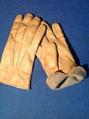 Sermoneta - Pair Of Supple Tan Lambskin Mens Gloves - Lined In Cashmere - Sz 9