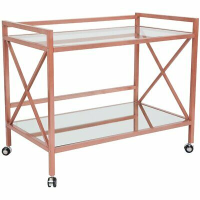 Flash Furniture Glenwood Park Serving Cart In Rose Gold 122 32