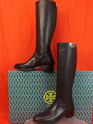 b82c4e6b3 Nib Tory Burch Sidney Black Leather Gold Half Reva Tall Riding Boots 9  495