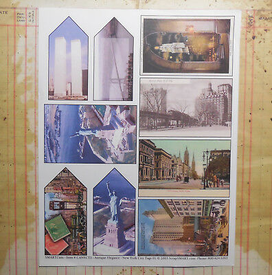 Collage Sheet New York City Post Cards & Tags Junk Book Altered Art Scrapbook
