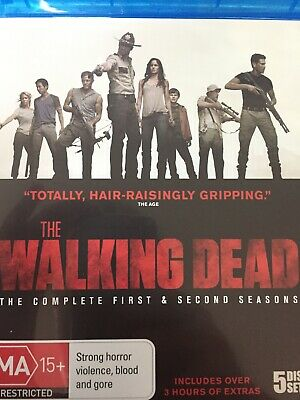 THE WALKING DEAD - Season 1 & 2 5 x BLURAY Set AS NEW! Complete Series One Two