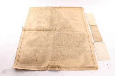 Rare Antique 1813 Cary's Reduced Map England Wales & Land Deeds Essex Cty New Je