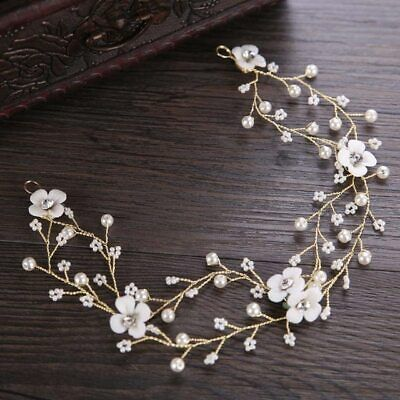 Gold Flower Garland Vine Wedding Bridal bride piece hair Accessories Headband