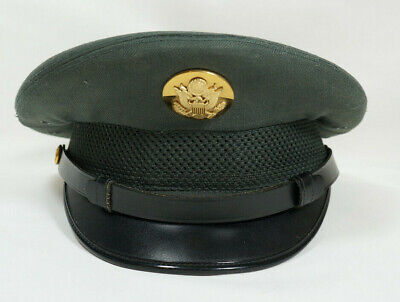 Vintage Mens Army Hat US Army Officer cap Green Wool Dress Hat Size 6 7/8