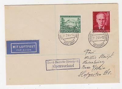 GERMANY, 1944 cover, Peter Rosegger pair, ALPENVORLAND, NEUMARKT cds.