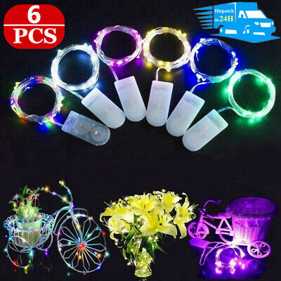 6PC 2M 20 LED Battery Micro Rice Wire Copper Fairy Light String Party Xmas Decor