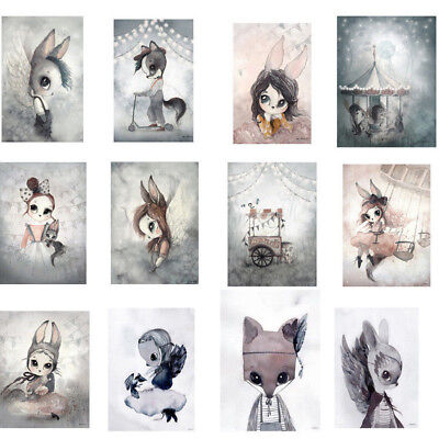 1PC Hand Painting Rabbit Girl Wall Canvas Print Bunny Wall Poster Decoration
