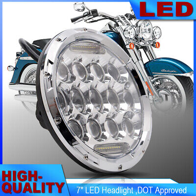 "7"" MOTORCYCLE FRONT CHROME PROJECTOR HID LED LIGHT BULB HEADLIGHT For Harley"