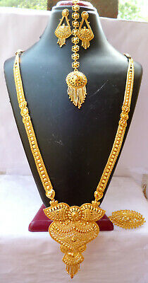 Jewelry & Watches Jewelry Sets Cheap Price 22k Gold Plated Necklace 11 Inch Long Necklace Finger Ring Tikka Earrings F