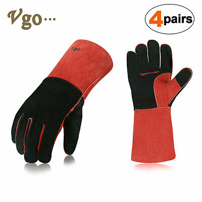 "Vgo 1Pair/2Pairs/4Pairs 13.5"" Cow Split Leather Welding Grill BBQ Gloves(CB6638)"