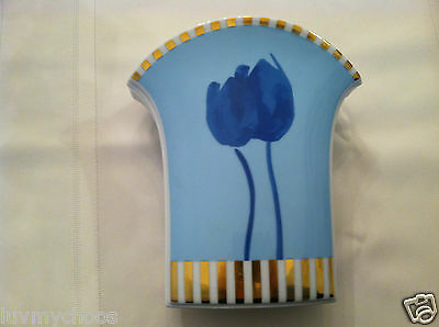Rare Rosenthal Studio Linie Line Tulip Blue Gold White Vase Made In Germany