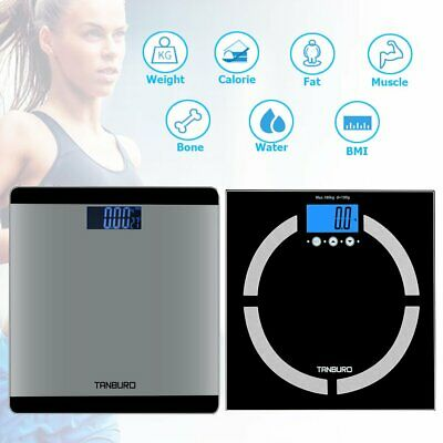 Digital Body Weight Scale 400 lb LCD Bathroom Fitness Fat BMI Calorie Muscle
