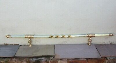 "Antique Brass Rail Towel Airer Fireplace Rack Victorian Hanger Vintage Old 58""L"