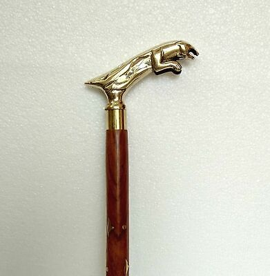 Solid Brass Jajuar Head Handle Walking Cane Gentlemen Wooden Stick Vintage Gift
