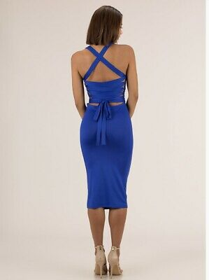 NEW GOJANE FASHION Nova Strappily Ever After Lace,Back Dress Royal Blue  Large