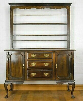 Antique Georgian style oak dresser sideboard with delft rack