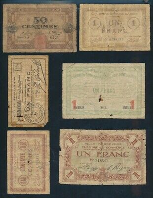 "France: LOCAL ISSUES WWI 1915-16 Historic Collection of 6 Different ""BON POURS"""