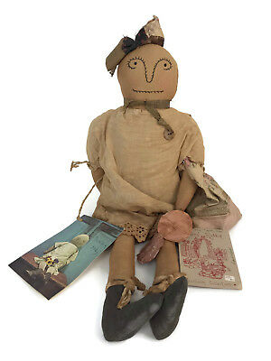 1991 The Tattered Rabbit Farm Lucky Judy Primitive Folk Art Cloth Doll Signed