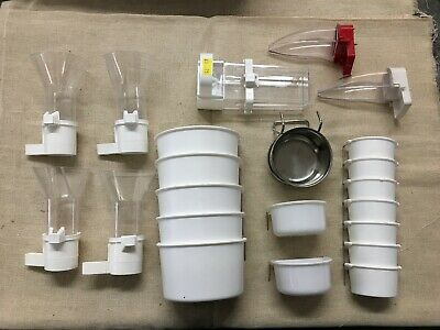 JOB LOT 22 x BIRD CAGE ACCESSORIES WATER HOLDER / FOOD IDEAL CAR BOOT STOCK
