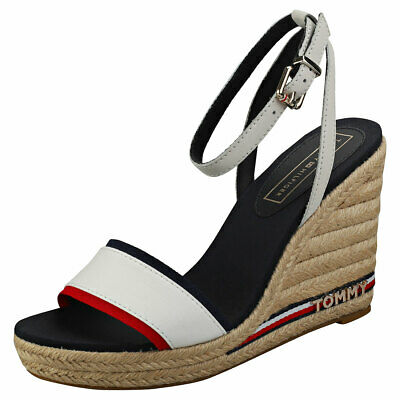 a99c7b7ff43e46 Tommy Hilfiger Iconic Elena Womens White Navy Red Wedge Sandals - 39 EU