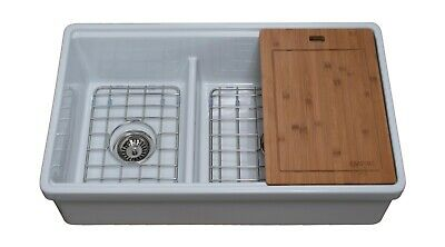 Tosca Reversible Farmhouse Fireclay 33 in. 60/40 Double Bowl Kitchen Sink in Whi