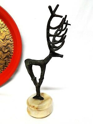 Ancient Luristan Bronze Long Horn Deer Figure On Marble Base Repro