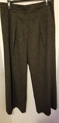 Banana Republic Womens Size 0 Stretch Brown Tweed Dress Pants Wide Leg Wool Clothing, Shoes & Accessories Pants