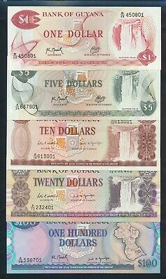 "Guyana: 1989-92 $1 to $100 ""SET OF 5"" Last 2 Nos Match. P21g-28 UNC Lt handling"