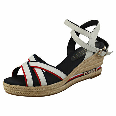 1d9463fd3a31 Tommy Hilfiger Iconic Elba Corporate Ribbon Womens White Navy Red Sandals  37 EU