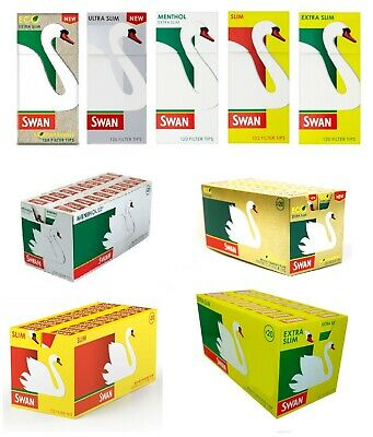 Swan Filter Tips Slimline Extra Slim Menthol All Types Pick Quantity Filters Box