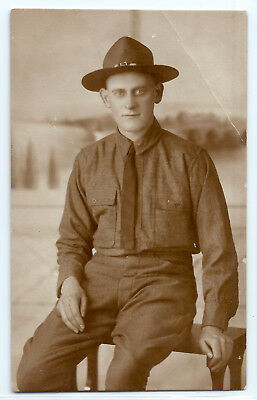 WWI American soldier, Atlanta, Georgia, original real photo postcard RPPC