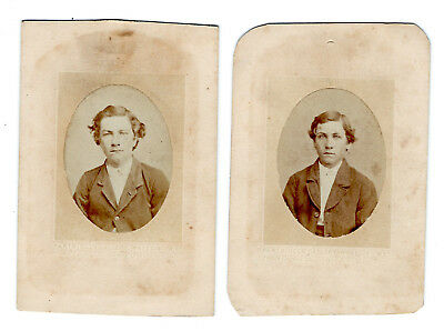 1870s two young brothers, CDV original photos (2); Wheeling, West Virginia