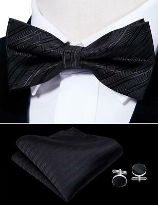 8ef9967e5443a UK Black Solid Men Bowtie Silk Pretied Adjustable Bowtie Handkerchief Set  Party