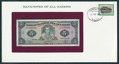 Ecuador: 1982 5 Sucres Banknote & Stamp Cover, Banknotes Of All Nations Series