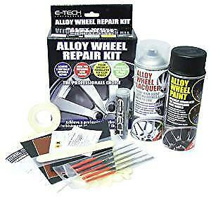 E-TECH Full Alloy Wheel Repair Refurb Kit Wheel Putty Black Spray paint Lacquer