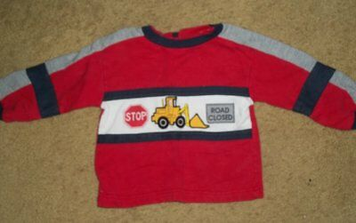SESAME STREET Red Construction Long Sleeved Top Boys Size 12 months